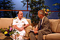US Navy 060829-N-7163S-001 Chief of Naval Personnel Vice Adm. John C. Harvey Jr. is interviewed by Cleveland news personality Fred Griffith.jpg