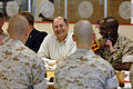 US Navy 070625-N-3642E-647 Secretary of the Navy (SECNAV) The Honorable Dr. Donald C. Winter and Sgt. Maj. of the Marine Corps Carlton W. Kent eat lunch with Marines from Marine Corps Air Station, Beaufort.jpg
