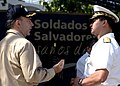 US Navy 070726-N-6278K-024 Capt. Bob Kapcio, mission commander aboard the Military Sealift Command hospital ship USNS Comfort (T-AH 20), speaks to Rear Adm. Palacios, Chief of Naval Operations of the Salvadoran Navy in Acajutla.jpg