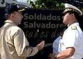 US Navy 070726-N-6278K-024 Capt. Bob Kapcio, mission commander aboard the Military Sealift Command hospital ship USNS Comfort (T-AH 20), speaks to Rear Adm. Palacios, Chief of Naval Operations of the Salvadoran Navy in Acajutla.jpg