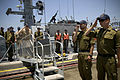 US Navy 080623-N-8273J-303 Chief of Naval Operations (CNO) Adm. Gary Roughead is piped ashore by members of the Israel Navy after getting underway on an Israel Navy Shaldag Mk-II class Fast Patrol Boat.jpg
