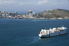 US Navy 080811-N-8878B-434 The Military Sealift Command hospital ship USNS Mercy (T-AH 19) anchored off the coast of Papua New Guinea in support of Pacific Partnership 2008.jpg