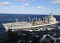US Navy 100208-N-3885H-141 The Military Sealift Command fleet replenishment oiler USNS Leroy Grumman (T-AO 195) breaks away from the aircraft carrier USS George H.W. Bush (CVN 77).jpg