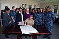 US Navy 100908-N-5165S-007 Rear Adm. Tim Alexander, commander of Navy Region Southeast, signs a proclamation making September Suicide Prevention Mo.jpg
