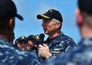 US Navy 120209-N-ED900-701 Rear Adm. Craig S. Faller, commander of Carrier Strike Group 3, talks to the crew aboard the Arleigh Burke-class guided.jpg