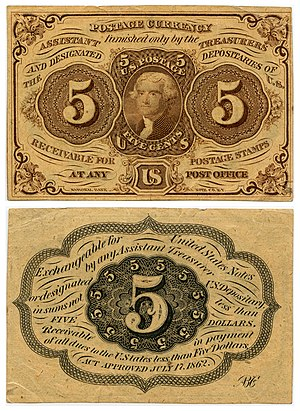 Five-cent US Postal Currency