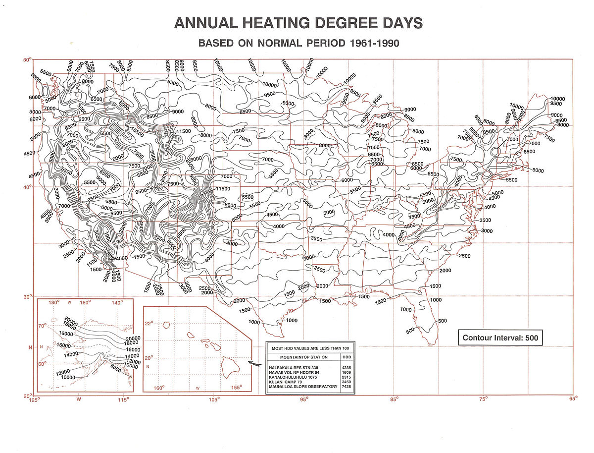 Heating Degree Day Wikipedia - Us map number of days of sunshine