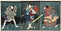 Utagawa Kunisada II - Actors Iwai Kumesaburô III as Inuzaka Keno, Nakamura Shikan IV as Inuta Kobungo, and Ichikawa Ichizô III as Yamabayashi Fusahachi.jpg