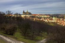 Veduta del Castello di Praga dalla collina di Petrin