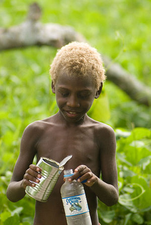 English: Blond Vanuatu boy