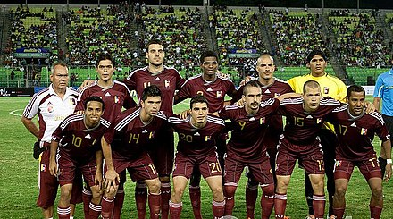 "Venezuela national football team, popularly known as the ""Vinotinto"" Venezuela-guinea cropped.jpg"