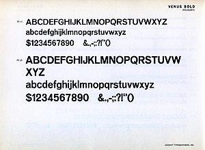 Venus (typeface) - Venus Bold on an American metal type specimen sheet.