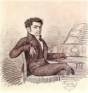 Alexey Verstovsky - Portrait of 20-year-old Alexey Verstovsky at the piano with the score of his first successful vaudeville Grandmother's Parrots (1819)