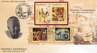 Vicente Manansala - Vicente Manansala and his works on a 2010 stamp sheet of the Philippines
