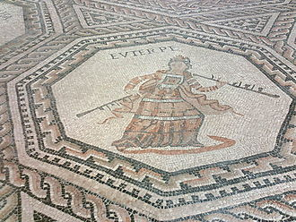 Euterpe - Euterpe on the replica of a Roman mosaic in Vichten