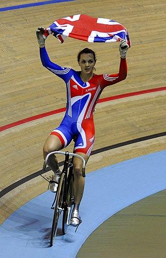 Victoria Pendleton - Pendleton celebrates winning the sprint at the 2008 UCI Track Cycling World Championships