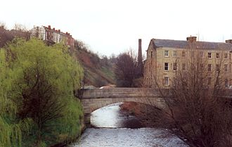 Stalybridge - River Tame flowing under Staley Bridge, constructed in 1707