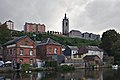 View of Thuin and its belfry from the North bank of La Sambre (DSCF7752).jpg