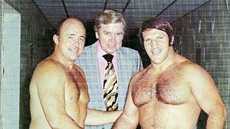 Bruno Sammartino - Sammartino (right) with Verne Gagne and WWWF promoter Vincent J. McMahon