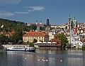 Vltava River, Church of Saint Nicholas at Malá Strana, Malá Strana Bridge Tower, Basilica of the Assumption in the Strahov Monastery. Prague, Czech Republic.jpg