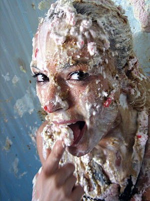 Wet and messy fetishism - A woman who has been pied