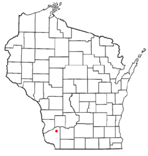 Hickory Grove, Wisconsin - Image: WI Map doton Hickory Grove
