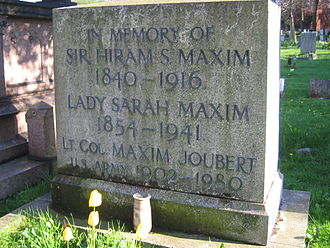 Hiram Maxim - Gravestone of Sir Hiram Maxim