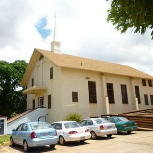 KRKW-LP - The historic Waimea Baptist Church, built in the late 1940s on the foundation of a WWII Bunker. The KRKW-LP antenna is inside the steeple.