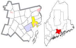 Location of the town of Searsport (in yellow) in Waldo County and the state of Maine.