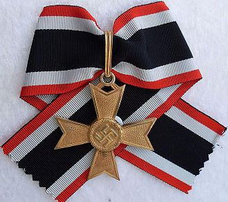 War Merit Cross - Knights Cross of the War Merit Cross in Gold (without Swords). Awarded only to Franz Hahne and Karl-Otto Saur