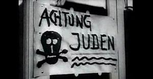 Sign warning people that there might be Jews a...