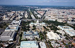 Aerial view of Washington, D.C. Photo via Wikipedia