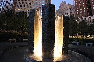 Mellon Green - Image: Water fountain lit in morning (10545467515)
