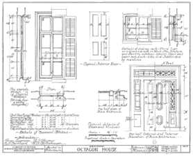 Swinging panel displays blueprint
