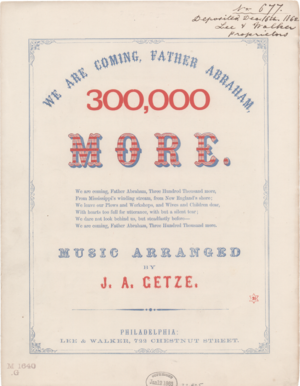 We Are Coming, Father Abra'am - We Are Coming, Father Abra'am, arranged by J.A. Getze.