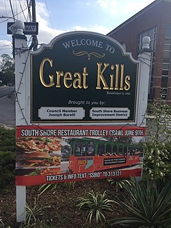 """Welcome to Great Kills"" sign, at Amboy Road"