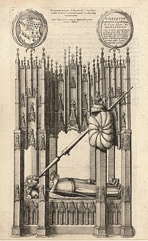 Blanche of Lancaster - The tomb of Blanche and John of Gaunt in St. Paul's Cathedral, as represented in an etching of 1658 by Wenceslaus Hollar. The etching includes a number of inaccuracies, for example in not showing the couple with joined hands.