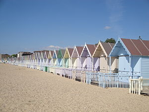 Mersea Island - Beach huts have been established on West Mersea beach since the 1920s.
