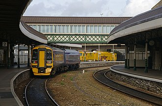 Weston-super-Mare railway station - A First Great Western service to Cardiff Central departs from Platform 2.