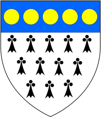 Richard Weston (treasurer) - Arms of Weston: Ermine, on a chief azure five bezants