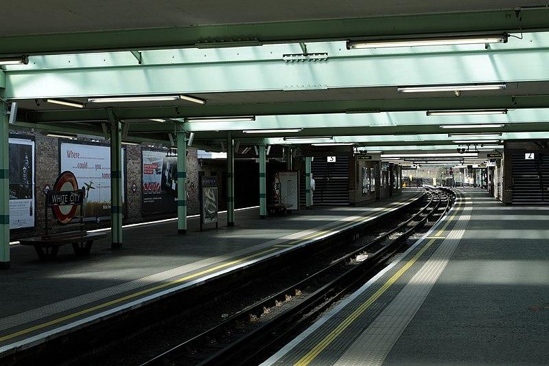 File:White City Tube Station at Central Line in London, spring 2013.JPG