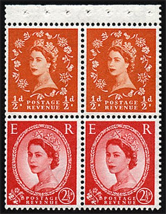 Wilding series - A pane from a postage stamp booklet showing two different stamps from the Wilding series.
