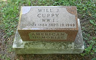 Will Cuppy - Will Cuppy's grave marker in Evergreen Cemetery in Auburn, Indiana.