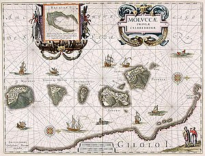 Ternate - Early map of northern Maluku made during the Age of Discovery. North is on the right, with Ternate as the rightmost followed by Tidore, Mare, Moti and Makian islands. The bottom is the Gilolo (Jailolo or Halmahera) Island. The inset on the top is Bacan Island. Willem Blaeu, 1630