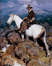 A painting of a man on a white horse standing among sage bushes, against a mountainous backdrop