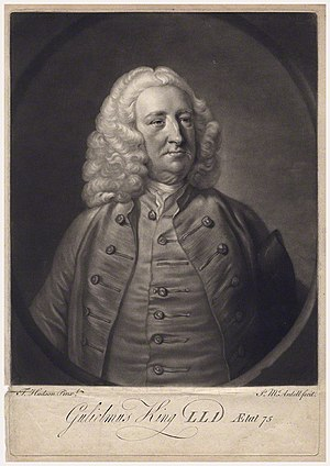 William King (St Mary Hall) - William King, 1760 engraving by Thomas Hudson