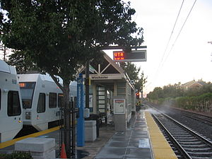 Winchester Transit Center - Station with train waiting to depart, September 20, 2012