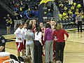 Wisconsin vs. Michigan women's basketball 2013 25 (Wisconsin huddle).jpg