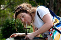 Woman drinking from a water fountain -Royal Botanic Gardens, Sydney, Australia-18Feb2009.jpg