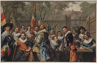The Officers of the St Adrian Militia Company in 1633 - This 18th-century copy by Wybrand Hendriks shows how much darker the painting has become over the centuries.